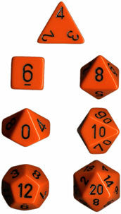 Opaque Poly 7 Dice Set: Orange/Black