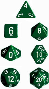 Opaque Poly 7 Dice Set: Green/White