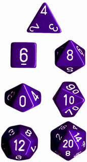 Opaque Poly 7 Dice Set: Purple/White