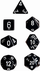 Opaque Poly 7 Dice Set: Black/White