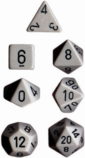 Opaque Poly 7 Dice Set: Grey/Black