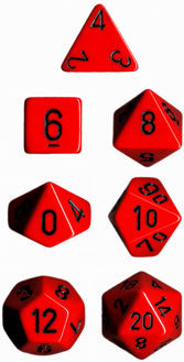 Opaque Poly 7 Dice Set: Red/Black