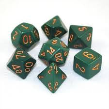 Opaque Poly 7 Dice Set: Dusty Green/Gold