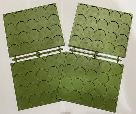 Renedra: 25mm Diameter Recessed Movement Tray - 20 Spaces per Tray [green]