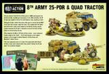8th Army 25 PDR Light Artillery, Quad & Tractor - British & Commonwealth (Bolt Action) :www.mightylancergames.co.uk