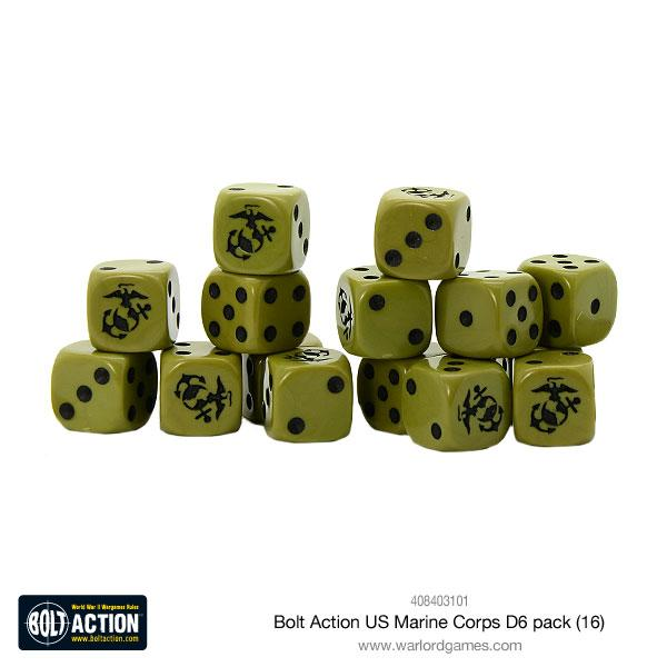 US Marine Corps D6 Dice - Bolt Action