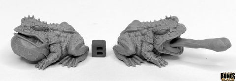 44024: GIANT FROGS (2) (Bones Black) reaper miniatures