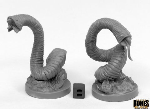 44031: GIANT LEECHES (2) (Bones Black) reaper miniatures