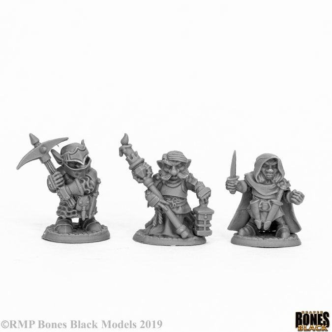 44060 Deep Gnome Warriors (3) Reaper Bones Black - mighty lancer games