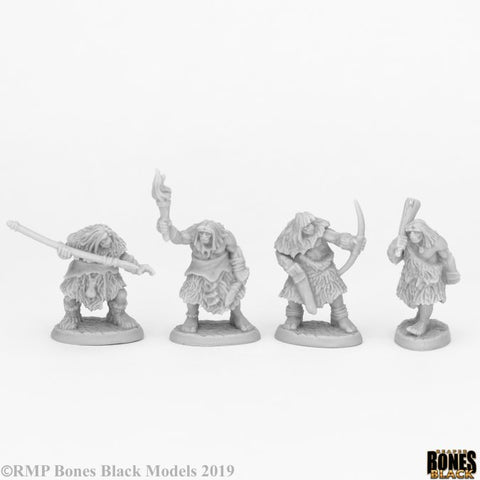 44086 BLACK BEAR TRIBE CAVEMEN (4) Reaper Bones Black