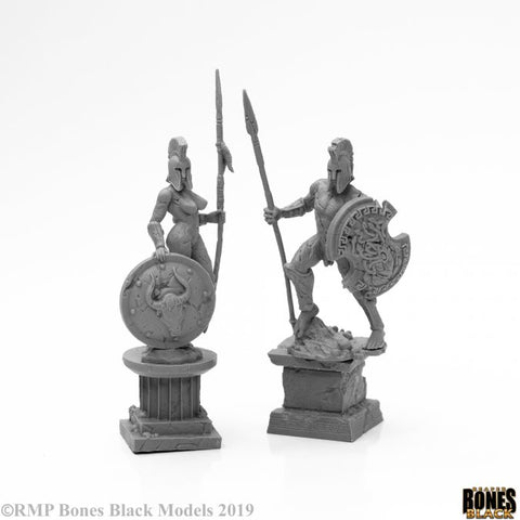 44127: AMAZON AND SPARTAN LIVING STATUES (STONE) (Bones Black)