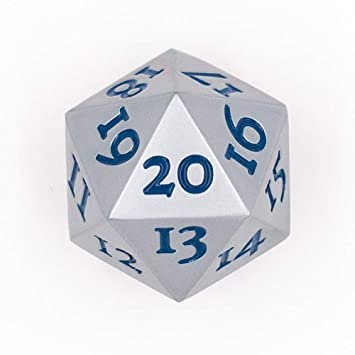 D20 SOLID METAL SPINDOWN DICE - SILVER