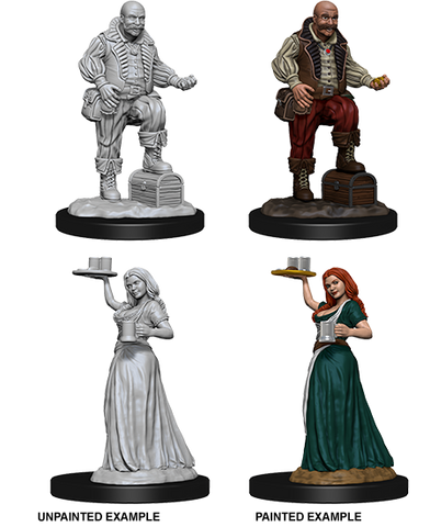 Wizkids Pathfinder Deep Cuts Unpainted Miniatures: Merchants (Serving Girl/Merchant) 72584