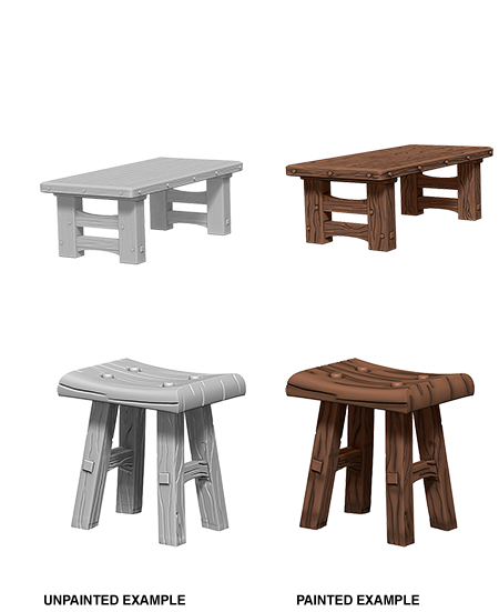 WizKids Deep Cuts Unpainted Miniatures: Wooden Table & Stools 72593: www.mightylancergames.co.uk