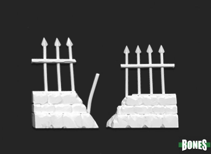 77528: GRAVEYARD RUINED FENCES (2) reaper miniatures