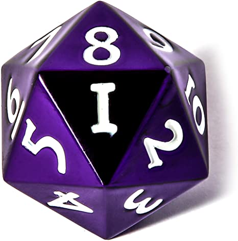 Solid Metal Spindown D20 Dice Purple