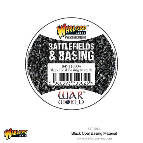 tub of miniature basing black coal material