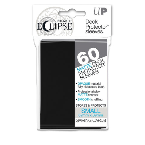 PRO-Matte Eclipse Black Small Deck Protector sleeves 60ct (62mm x 89mm)