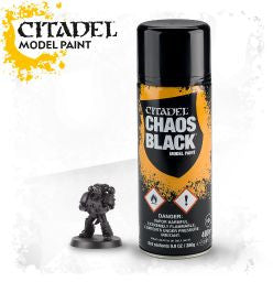 Citadel spray paint - Chaos Black Model Paint: www.mightylancergames.co.uk