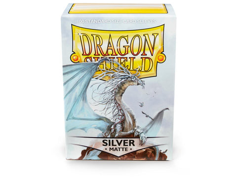 Dragon Shield Silver Matte– 100 Standard Size Card Sleeves: www.mightylancergames.co.uk