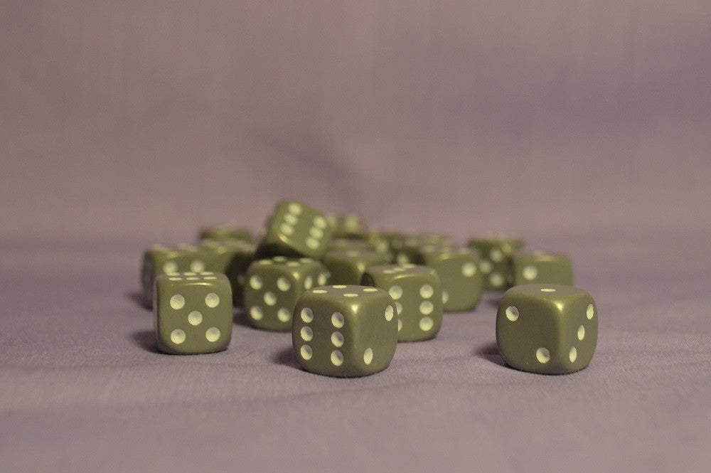 12mm Grey D6 - Six Sided Dice (Pack of 20) :www.mightylancergames.co.uk