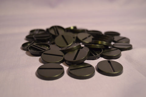 Miniature Bases: 25mm round Slotted (20 bases per blister) [RSB25]