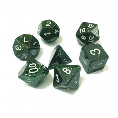 Galaxy D20 Poly Dice set - Dark Green