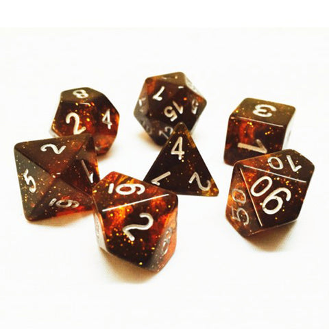 Galaxy D20 Poly Dice set - Dark Orange