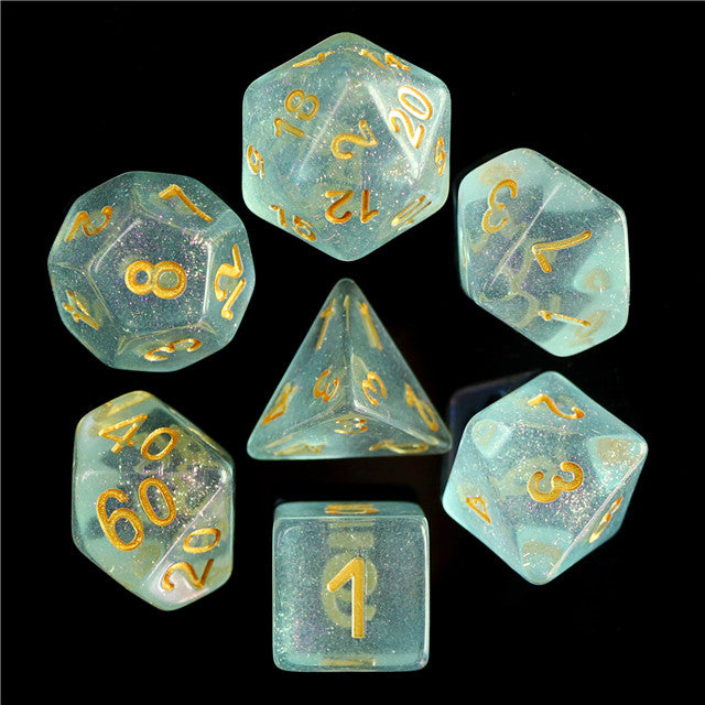 Iridescent D20 Poly Dice set - Teal Blue