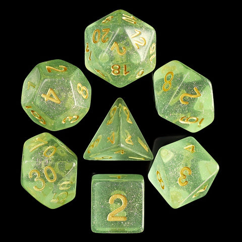 Iridescent D20 Poly Dice set - Green