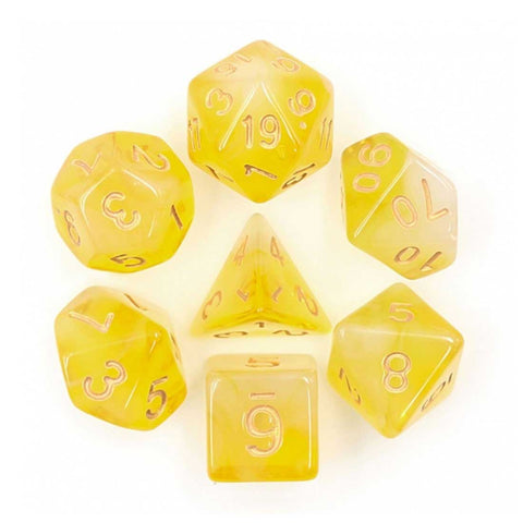 Soapstone Dice Set D20 Poly Dice set - Yellow