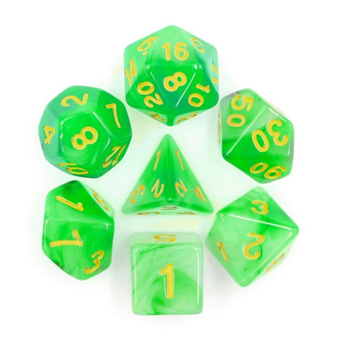 Soapstone Dice Set D20 Poly Dice set - Green
