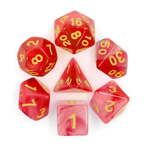 Soapstone Dice Set D20 Poly Dice set - Red