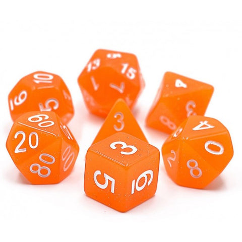 Glitter D20 Poly Dice set - Orange