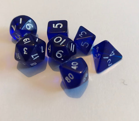 Mini Poly Dice set - Gem Blue