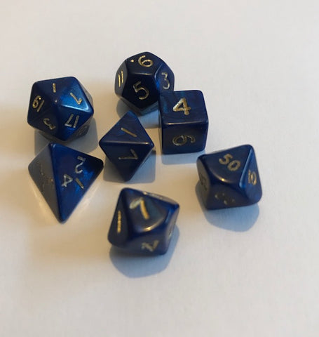 Mini Poly Dice set - Interferenz Blue