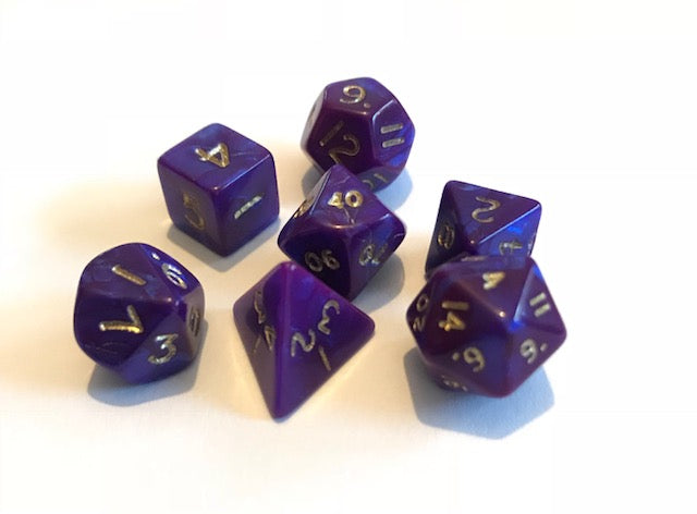 Mini Poly Dice set - Interferenz Purple