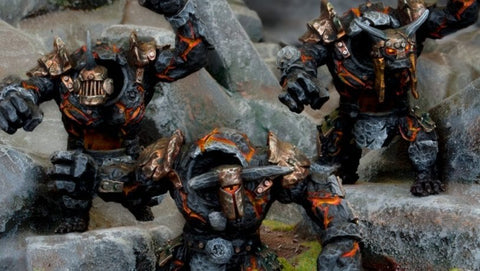 Lesser Obsidian Golems - Abyssal Dwarf - Kings of War :www.mightylancergames.co.uk