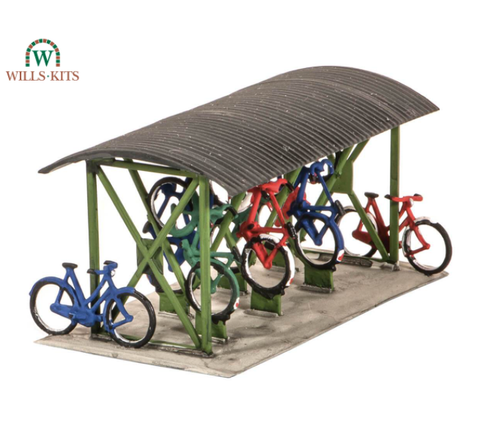 Wills Kits - Bicycle Shed and Bicycles - OO/HO Gauge - SS23 - PECO