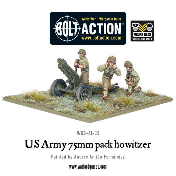 75mm Pack Howitzer - US Army (Bolt Action) :www.mightylancergames.co.uk