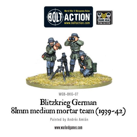 Blitzkrieg German 81mm Medium Mortar Team (1939-42) - Germany (Bolt Action - WGB-BKG-07) www.mightylancergames.co.uk