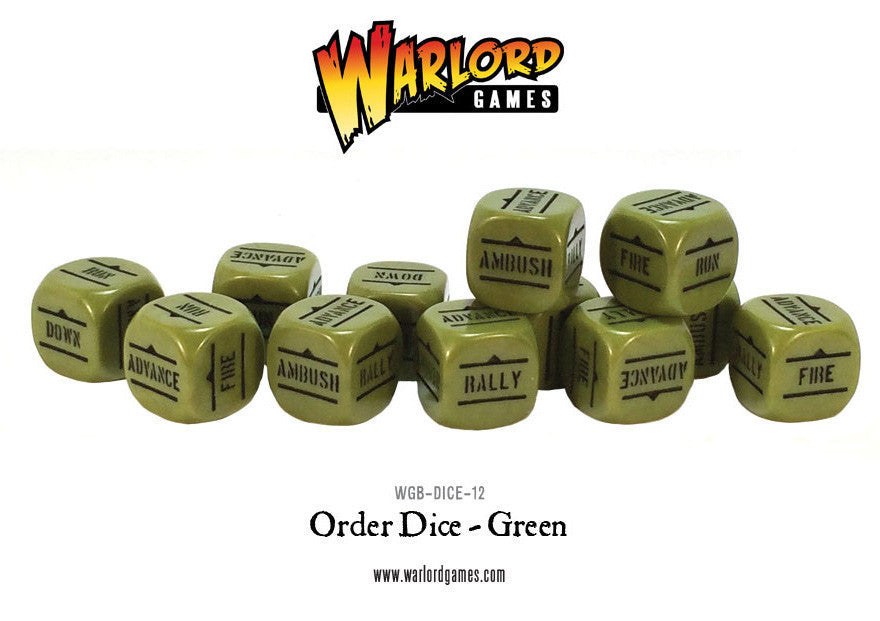 Bolt Action Orders Dice - Green 12: www.mightylancergames.co.uk