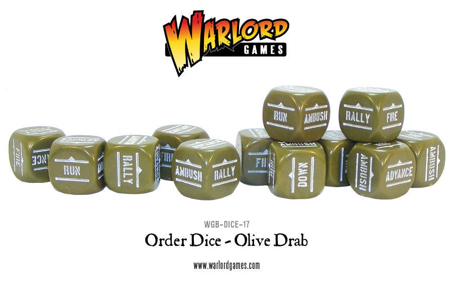 BA Orders Dice - Olive Drab (Bolt Action) :www.mightylancergames.co.uk