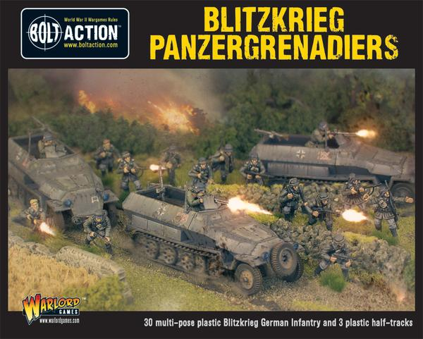 Bolt Action: German Blitzkrieg Panzergrenadiers (30 infantry + 3 Hanomags)
