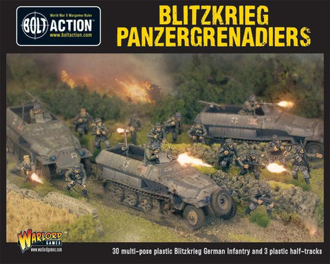Bolt Action: German Blitzkreig Panzergrenadiers (30 infantry + 3 Hanomags)