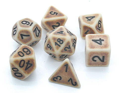 Ancient Dice Set D20 Poly Dice set - BROWN BONE