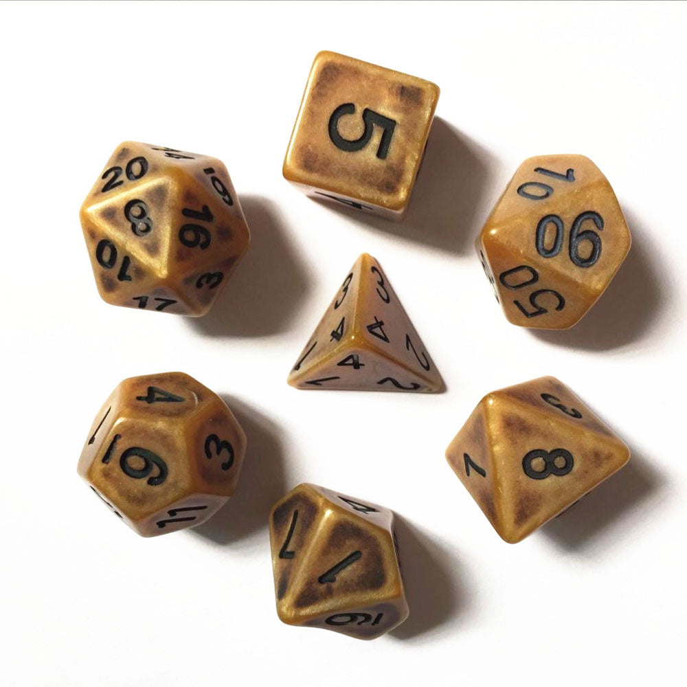 Ancient Dice Set D20 Poly Dice set - MATT GOLD