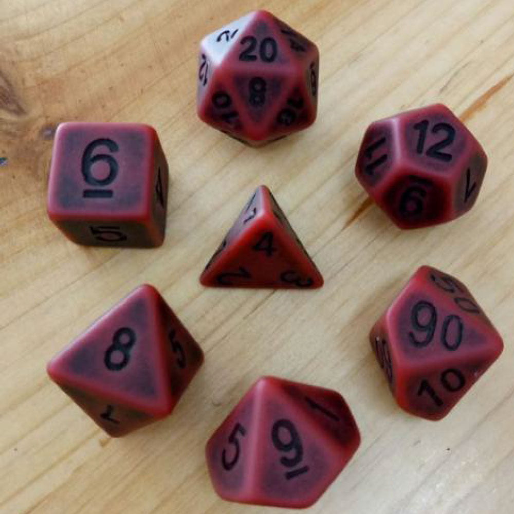Ancient Dice Set D20 Poly Dice set - MATT RED