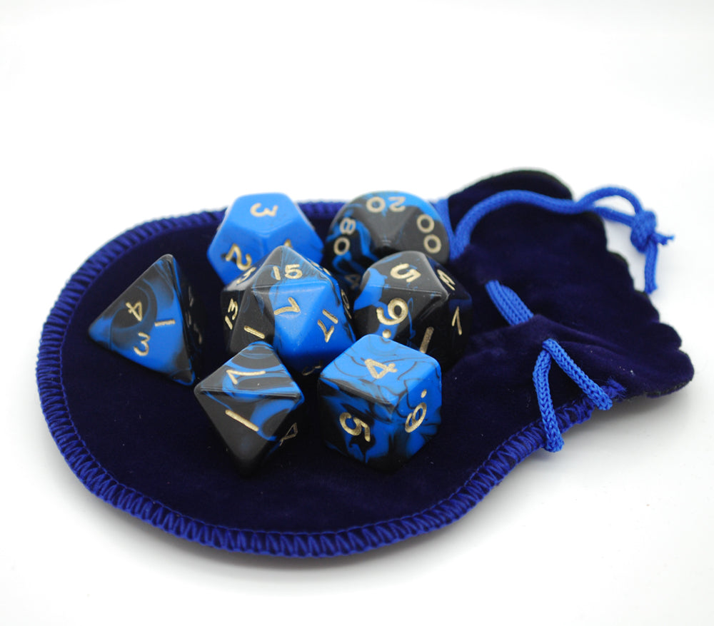 small blue dice bag