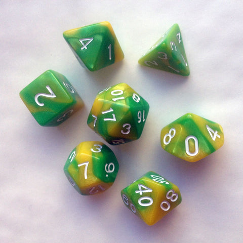 Elemental D20 Poly Dice set - Green / Yellow